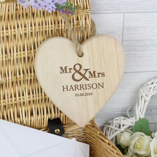 Mr & Mrs Chunky Wooden Heart Decoration